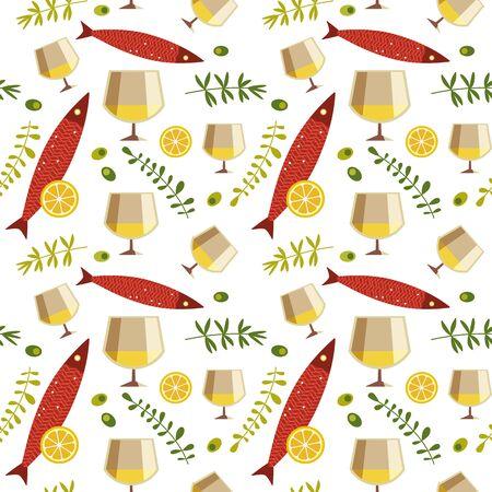 White wine glass and fresh fish seamless pattern Ilustrace