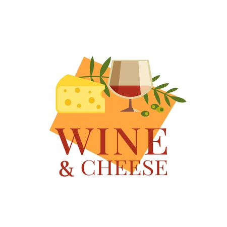 Red wine glass cheese flat color vector isolated icon. Alcoholic liquor cartoon design element. Restaurant food drinks menu card background. Wine cheese festive party celebration template illustration Ilustrace