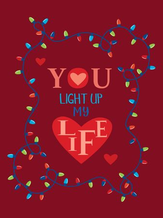 Valentine day greeting card template. Decorative lights flat color vector design element. Love inspired quote lettering background for party. Romantic sentimental phrase graphic cartoon illustration Ilustrace