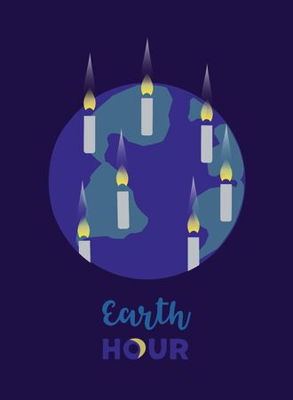 Earth hour day concept. Stop polluting the globe environmental threat idea design. Support for planet actions to change global world. Make personal promise to planet vector illustration background