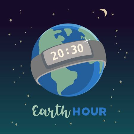 Earth hour day concept flat vector illustration. Timer notice to stop polluting the globe nature. Support planet actions change global world design idea. Environmental threat planet banner background Ilustrace