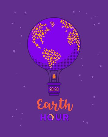 Earth hour day concept flat vector illustration