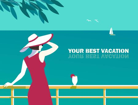 Best summer holidays hand drawn flat poster