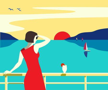 Sea cruise liner tourist trip hand drawn poster