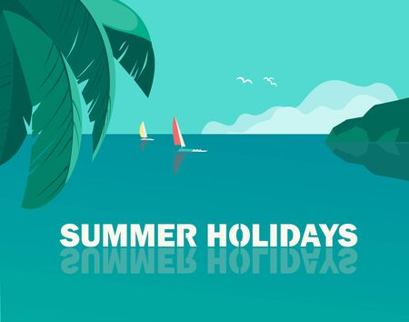 Summer seaside holidays vector poster template Ilustrace