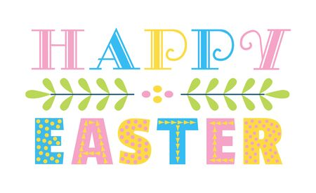 Happy Easter Holiday greeting text. Cute hand drawn letters isolated, white background. Decorative flat color vector lettering. Festive celebration invitation christian event party design illustration
