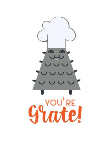 Cute friendship vector greeting card template. Celebration party typography poster background. Flat color funny cheese grater chef cartoon. You grate inspired motivated phrase graphic illustration Ilustrace