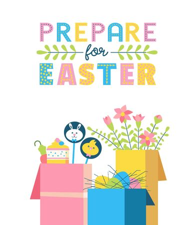 Happy Easter fancy hand drawn flat color vector Ilustrace