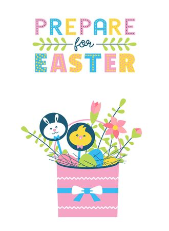 Happy Easter fancy hand drawn flat color vector 矢量图像