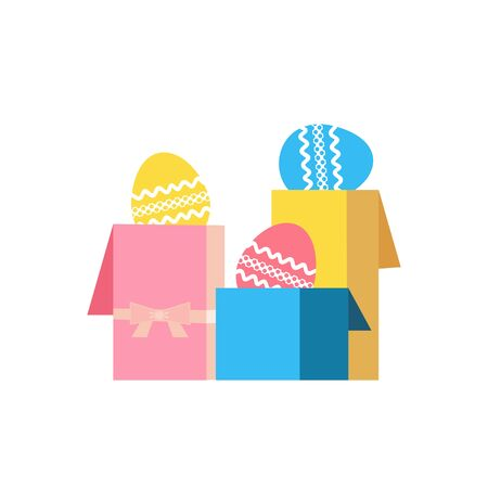 Easter eggs in gift boxes flat color vector icon Çizim