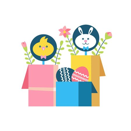 Easter eggs gift boxes vector icon isolated. Spring holiday present symbol cute cartoon. Flat simple minimal style in retro color. Decorative design element for happy easter season event illustration Ilustrace