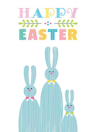 Happy Easter Holiday greeting poster. Cute free hand drawn letters retro design. Decorative easter bunny cartoon vector. Festive celebration invitation christian event party background illustration