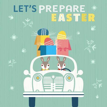 Happy Easter Sunday celebration poster. Cute rabbits deliver egg gift boxes by retro car. Colorful playful Easter bunny cartoon. Vector spring holiday season festive greeting illustration background