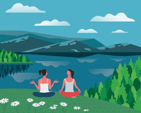 Girls training yoga on lake bank vector color concept. Summer landscape background. Woman relax together on nature. Cute hand drawn fun rest cartoon. Holiday vacation active healthy lifestyle travel