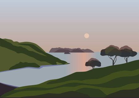 Mountain green valley landscape. Summer season lake scenic view poster. Calm sunset on river bank in high mountains. Freehand cartoon outdoors illustration. Vector countryside scene banner background  イラスト・ベクター素材