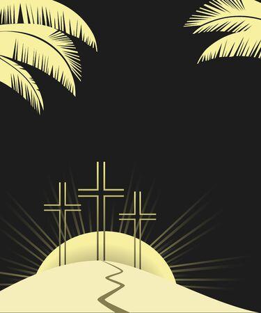 Religious Lent symbols flat vector background
