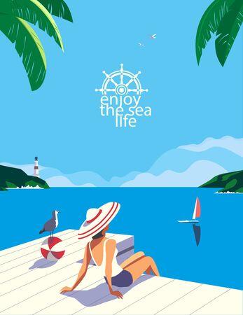 Summer seaside flat color vector. Blue ocean scenic view poster. Hand drawn pop art retro style. Holiday vacation season sea travel leisure. Tourist sea trip rest advertisement background illustration Vektorgrafik