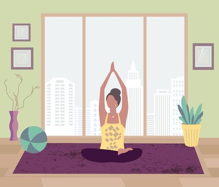 Girl training yoga stay at home vector
