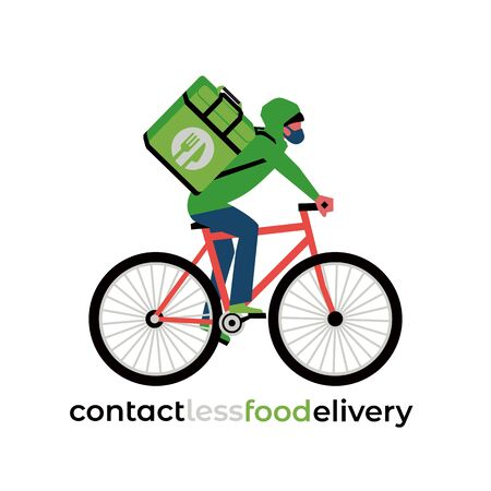No-contact food delivery rider vector icon. Contactless delivery service online takeout orders cartoon illustration. Bicyclist driver courier in medical mask carries food at coronavirus virus epidemic  イラスト・ベクター素材