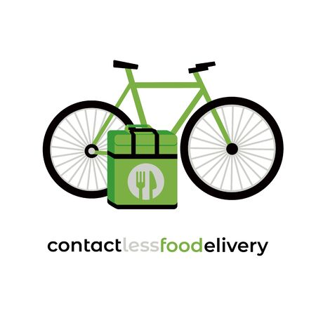No-contact food delivery riding vector icon. Contactless delivery service online takeout orders cartoon illustration. Bicycle, carry box for food meal medicine during coronavirus epidemic quarantine