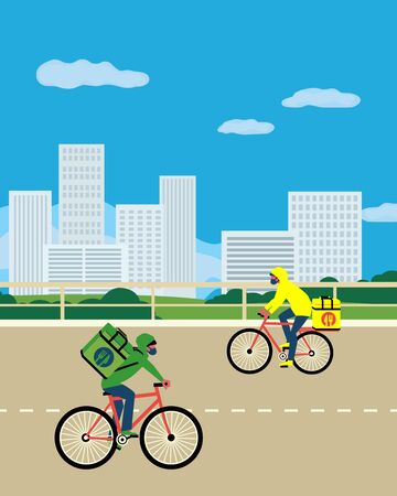 Noncontact food delivery riders vector poster. Contactless delivery service online takeout orders cartoon illustration. Bicycle courier drivers carry food on empty street at coronavirus virus epidemic