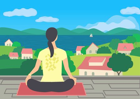Young woman practicing yoga on terrace flat vector