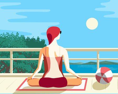 Young woman practicing yoga on balcony flat vector  イラスト・ベクター素材