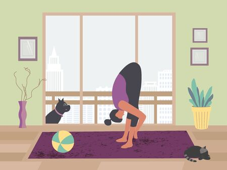Woman meditating yoga staying home with pets flat vector. Stay home meditation practice cute cartoon. Breathing exercise workout background. Healthy indoors morning fitness activities illustration