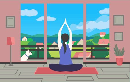Woman meditating yoga sitting home with dog flat vector. Stay home meditation practice cute cartoon. Breathing exercise workout background. Healthy indoors morning fitness activities illustration
