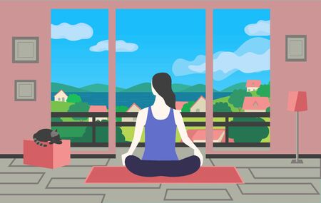 Young woman training yoga stay at home vector  イラスト・ベクター素材