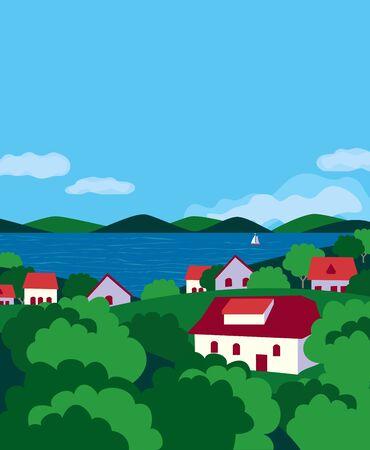 Summer village river landscape flat color vector  イラスト・ベクター素材