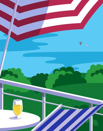 Summer outdoor leisure time background flat vector. Sunshade umbrella on country house balcony cartoon illustration. Sunny day nature landscape background. Green home backyard lawn, forest scenic view