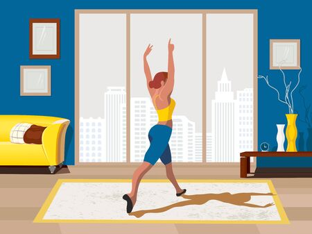 Girl training dancing stay at home vector