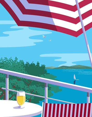 Summer lakeside leisure time flat color vector. Blue river scenic view. Hand drawn pop art retro style. Holiday vacation season poster template. Tourist rest advertisement background illustration