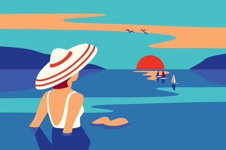 Girl sitting in water enjoys seaside sunset vector  イラスト・ベクター素材
