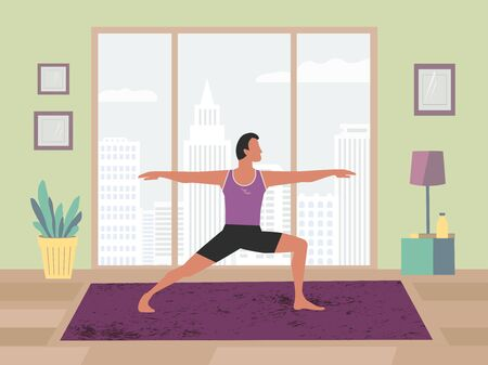 Man training yoga stay at home flat color vector