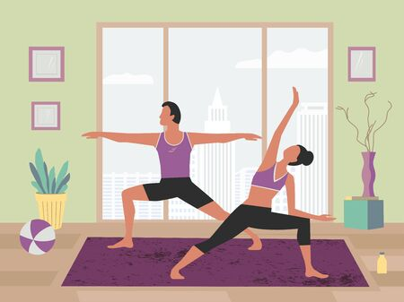 Couple training yoga stay home flat color vector  イラスト・ベクター素材