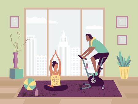 Couple sport activity at home flat vector. Stay home yoga practice bicycle riding cartoon. Breathing exercise workout background. Healthy lifestyle indoors family daily training fitness illustration