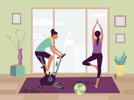 Couple sport activity stay home flat color vector