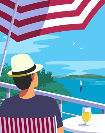 Summer lakeside flat color vector. Blue river scenic view poster. Hand drawn pop art retro style. Holiday vacation season sea travel leisure. Tourist trip rest advertisement background illustration
