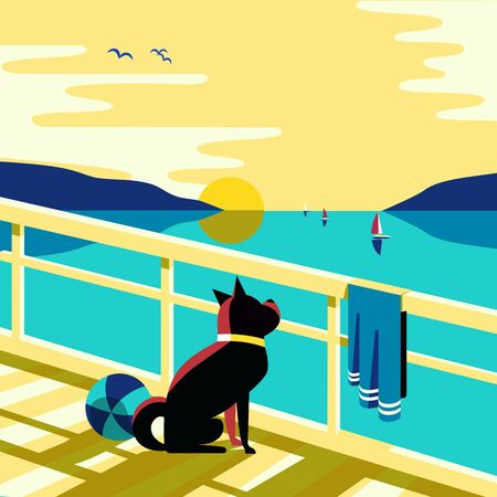 Nautical flat color vector poster. Blue sea scenic view. Dog waiting yacht sailing on blue water. Hand drawn cartoon retro style. Seaside vacation travel recreation on seashore background illustration  イラスト・ベクター素材