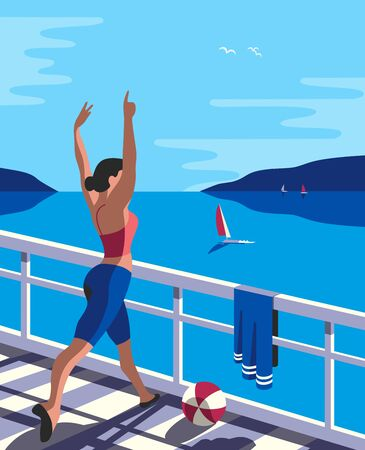 Female training dancing on seaside balcony flat color vector. Summer blue sea scenic view poster pop art retro background cartoon. Vacation leisure activity wellbeing exercise workout illustration