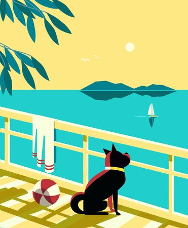 Seascape flat color vector poster. Calm sea scenic view. Dog waiting yacht sailing on blue water. Hand drawn cartoon retro style. Seaside vacation travel recreation on seashore background illustration