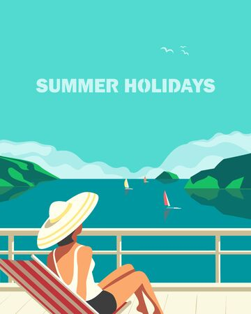 Summer seaside landscape. Blue ocean scenic view poster. Freehand drawn pop art retro style. Holiday vacation season sea travel leisure. Sea leisure relax. Vector tourist trip advertisement background  イラスト・ベクター素材