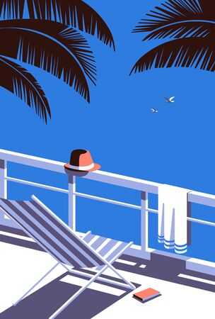 Summer seaside flat color vector. Blue ocean scenic view poster. Hand drawn pop art retro style. Holiday vacation season sea travel leisure. Tourist sea trip rest advertisement background illustration