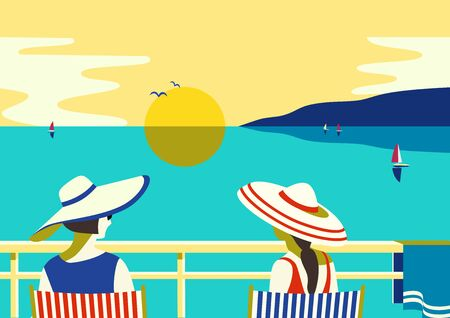 Summer seaside landscape. Blue ocean scenic view poster. Freehand drawn pop art retro style. Holiday vacation season sea travel leisure. Sea sailing relax. Vector tourist trip advertisement background  イラスト・ベクター素材