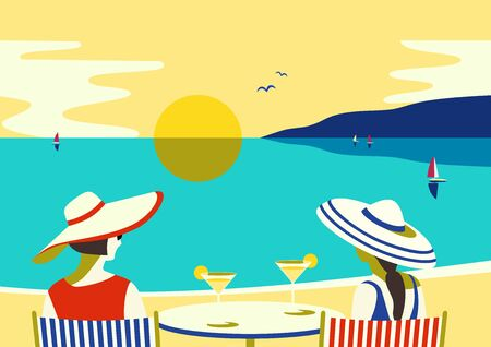 Summer seaside landscape. Blue ocean scenic view poster. Freehand drawn pop art retro style. Holiday vacation season sea travel leisure. Sea beach relax. Vector tourist trip advertisement background