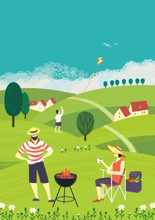 Family barbecue countryside picnic flat vector. Summer outdoors activity concept. Rural scene cartoon background. Season holiday leisure banner background. Weekend BBQ of father, mother, son on nature