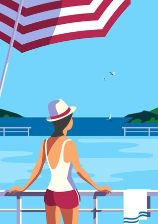 Girl relax in swimming pool on seaside flat vector. Sea scenic view hand drawn pop art retro style. Holiday vacation season travel leisure cartoon. Tourist resort trip rest background illustration