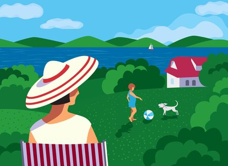 Family rest in farm house flat vector. Stay home vacation enjoy cartoon illustration. Family social distancing leisure activity in village house backyard. Leisure time activity outside town backgound